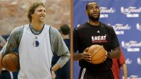 Dirk Nowitzki (l) and Lebron James (r) are both seeking their first NBA title.